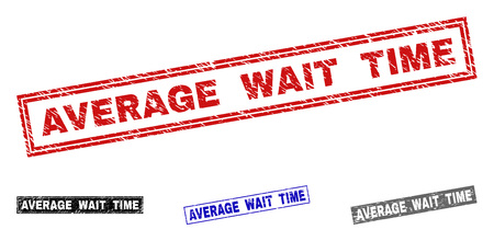 Grunge AVERAGE WAIT TIME rectangle stamp seals isolated on a white background. Rectangular seals with grunge texture in red, blue, black and grey colors. Ilustração