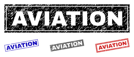 Grunge AVIATION rectangle stamp seals isolated on a white background. Rectangular seals with grunge texture in red, blue, black and grey colors.