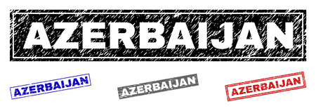 Grunge AZERBAIJAN rectangle stamp seals isolated on a white background. Rectangular seals with grunge texture in red, blue, black and grey colors.