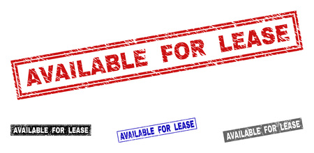 Grunge AVAILABLE FOR LEASE rectangle stamp seals isolated on a white background. Rectangular seals with grunge texture in red, blue, black and gray colors. 向量圖像