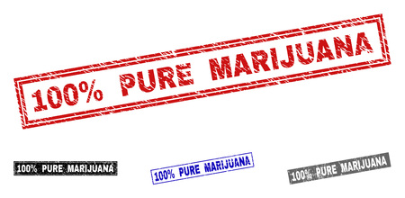 Grunge 100% PURE MARIJUANA rectangle stamp seals isolated on a white background. Rectangular seals with grunge texture in red, blue, black and gray colors.