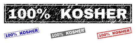 Grunge 100% KOSHER rectangle stamp seals isolated on a white background. Rectangular seals with grunge texture in red, blue, black and grey colors.