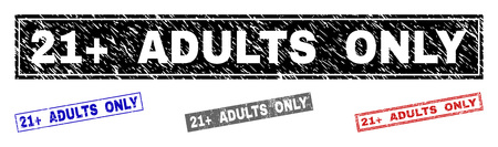 Grunge 21  ADULTS ONLY rectangle stamp seals isolated on a white background. Rectangular seals with grunge texture in red, blue, black and grey colors.