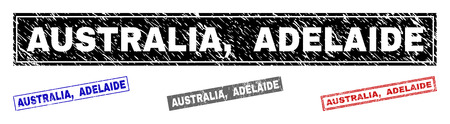 Grunge AUSTRALIA, ADELAIDE rectangle stamp seals isolated on a white background. Rectangular seals with distress texture in red, blue, black and grey colors. Vector rubber imprint of AUSTRALIA,