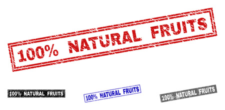 Grunge 100% NATURAL FRUITS rectangle stamp seals isolated on a white background. Rectangular seals with distress texture in red, blue, black and grey colors. Ilustrace