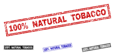 Grunge 100% NATURAL TOBACCO rectangle stamp seals isolated on a white background. Rectangular seals with grunge texture in red, blue, black and grey colors.