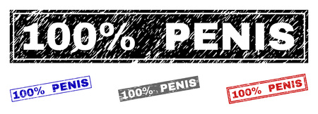 Grunge 100% PENIS rectangle stamp seals isolated on a white background. Rectangular seals with grunge texture in red, blue, black and gray colors.
