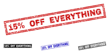 Grunge 15% OFF EVERYTHING rectangle stamp seals isolated on a white background. Rectangular seals with grunge texture in red, blue, black and gray colors.