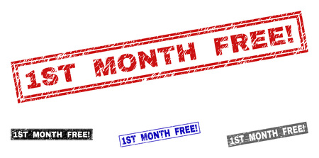 Grunge 1ST MONTH FREE! rectangle stamp seals isolated on a white background. Rectangular seals with grunge texture in red, blue, black and grey colors.