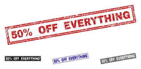 Grunge 50% OFF EVERYTHING rectangle stamp seals isolated on a white background. Rectangular seals with grunge texture in red, blue, black and gray colors.