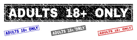 Grunge ADULTS 18+ ONLY rectangle stamp seals isolated on a white background. Rectangular seals with grunge texture in red, blue, black and gray colors.