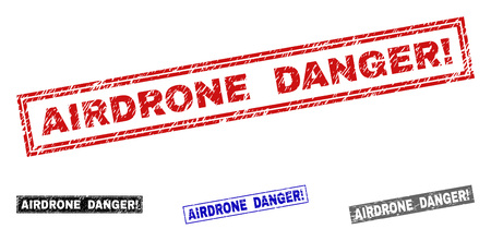 Grunge AIRDRONE DANGER! rectangle stamp seals isolated on a white background. Rectangular seals with grunge texture in red, blue, black and grey colors.