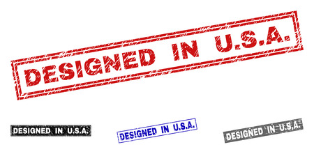 Grunge DESIGNED IN U.S.A. rectangle stamp seals isolated on a white background. Rectangular seals with grunge texture in red, blue, black and grey colors. Vector rubber imitation of DESIGNED IN U.S.A.
