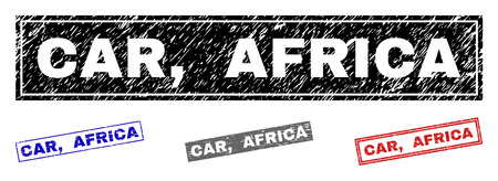 Grunge CAR, AFRICA rectangle stamp seals isolated on a white background. Rectangular seals with grunge texture in red, blue, black and grey colors. Vector rubber watermark of CAR, Illustration