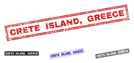Grunge CRETE ISLAND, GREECE rectangle stamp seals isolated on a white background. Rectangular seals with grunge texture in red, blue, black and grey colors. Vector rubber imitation of CRETE ISLAND,