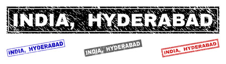 Grunge INDIA, HYDERABAD rectangle stamp seals isolated on a white background. Rectangular seals with grunge texture in red, blue, black and grey colors. Vector rubber imitation of INDIA,