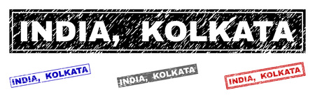 Grunge INDIA, KOLKATA rectangle stamp seals isolated on a white background. Rectangular seals with grunge texture in red, blue, black and gray colors. Vector rubber imprint of INDIA,