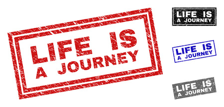 Grunge LIFE IS A JOURNEY rectangle stamp seals isolated on a white background. Rectangular seals with distress texture in red, blue, black and grey colors.