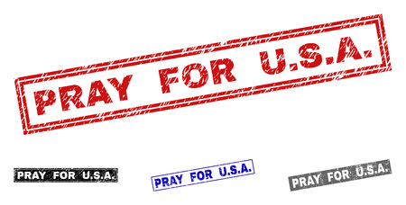 Grunge PRAY FOR U.S.A. rectangle stamp seals isolated on a white background. Rectangular seals with grunge texture in red, blue, black and gray colors. Vector rubber imprint of PRAY FOR U.S.A. Çizim