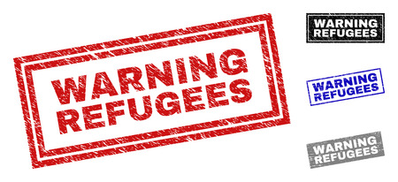 Grunge WARNING REFUGEES rectangle stamp seals isolated on a white background. Rectangular seals with grunge texture in red, blue, black and grey colors.