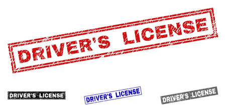 Grunge DRIVERS LICENSE rectangle stamp seals isolated on a white background. Rectangular seals with grunge texture in red, blue, black and grey colors.