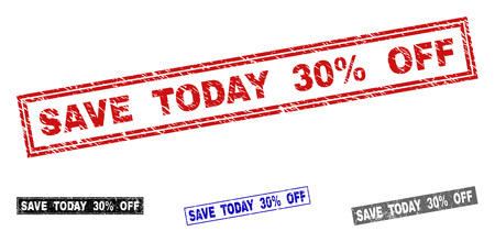 Grunge SAVE TODAY 30% OFF rectangle stamp seals isolated on a white background. Rectangular seals with grunge texture in red, blue, black and grey colors.