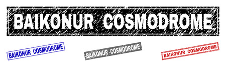 Grunge BAIKONUR COSMODROME rectangle stamps isolated on a white background. Rectangular seals with grunge texture in red, blue, black and gray colors.