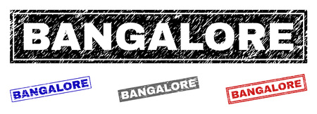 Grunge BANGALORE rectangle stamp seals isolated on a white background. Rectangular seals with grunge texture in red, blue, black and grey colors. Illustration
