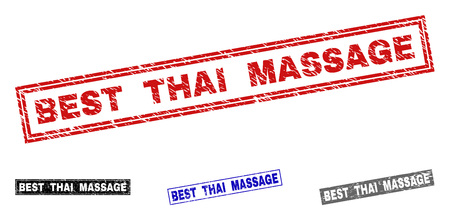 Grunge BEST THAI MASSAGE rectangle stamp seals isolated on a white background. Rectangular seals with distress texture in red, blue, black and gray colors.