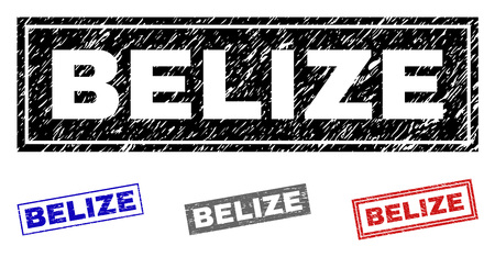 Grunge BELIZE rectangle stamp seals isolated on a white background. Rectangular seals with grunge texture in red, blue, black and grey colors. Vetores