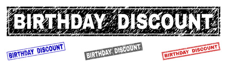 Grunge BIRTHDAY DISCOUNT rectangle stamp seals isolated on a white background. Rectangular seals with grunge texture in red, blue, black and grey colors.