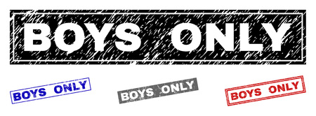 Grunge BOYS ONLY rectangle stamps isolated on a white background. Rectangular seals with grunge texture in red, blue, black and grey colors.