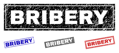 Grunge BRIBERY rectangle stamp seals isolated on a white background. Rectangular seals with distress texture in red, blue, black and gray colors.