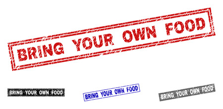 Grunge BRING YOUR OWN FOOD rectangle stamp seals isolated on a white background. Rectangular seals with grunge texture in red, blue, black and gray colors.