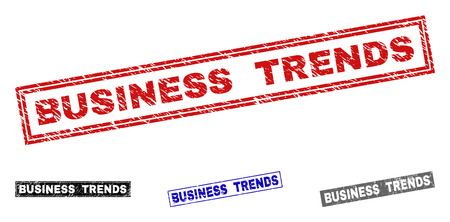 Grunge BUSINESS TRENDS rectangle stamp seals isolated on a white background. Rectangular seals with grunge texture in red, blue, black and grey colors.