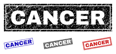 Grunge CANCER rectangle stamp seals isolated on a white background. Rectangular seals with distress texture in red, blue, black and grey colors.