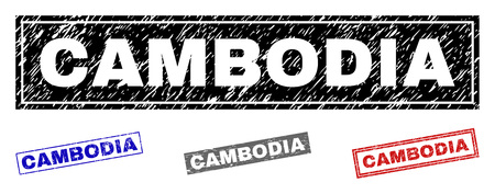 Grunge CAMBODIA rectangle stamp seals isolated on a white background. Rectangular seals with grunge texture in red, blue, black and grey colors.