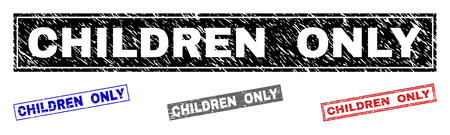 Grunge CHILDREN ONLY rectangle stamp seals isolated on a white background. Rectangular seals with grunge texture in red, blue, black and grey colors.