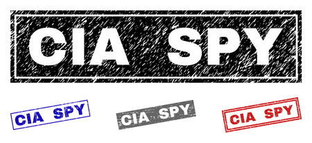 Grunge CIA SPY rectangle stamp seals isolated on a white background. Rectangular seals with grunge texture in red, blue, black and gray colors.