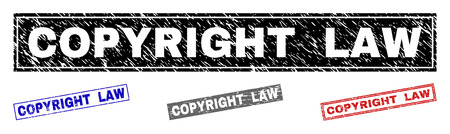 Grunge COPYRIGHT LAW rectangle stamp seals isolated on a white background. Rectangular seals with distress texture in red, blue, black and grey colors.