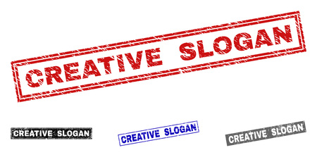 Grunge CREATIVE SLOGAN rectangle stamp seals isolated on a white background. Rectangular seals with grunge texture in red, blue, black and grey colors.