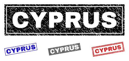 Grunge CYPRUS rectangle stamp seals isolated on a white background. Rectangular seals with grunge texture in red, blue, black and grey colors.