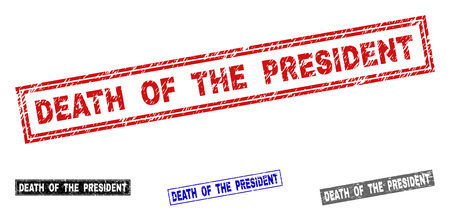 Grunge DEATH OF THE PRESIDENT rectangle stamp seals isolated on a white background. Rectangular seals with grunge texture in red, blue, black and gray colors.