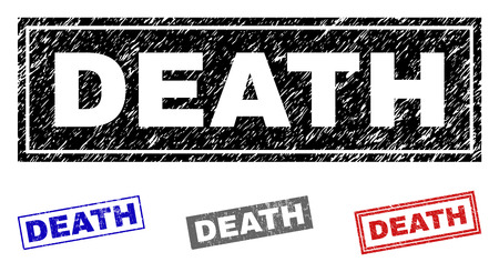 Grunge DEATH rectangle stamp seals isolated on a white background. Rectangular seals with grunge texture in red, blue, black and gray colors.