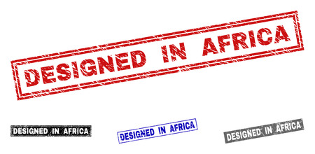 Grunge DESIGNED IN AFRICA rectangle stamp seals isolated on a white background. Rectangular seals with distress texture in red, blue, black and grey colors. Illustration