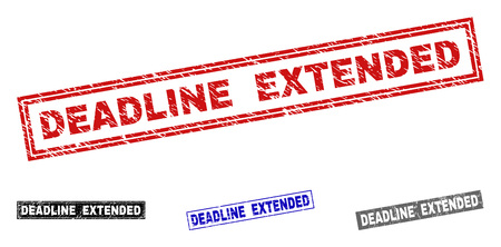Grunge DEADLINE EXTENDED rectangle stamp seals isolated on a white background. Rectangular seals with grunge texture in red, blue, black and gray colors.
