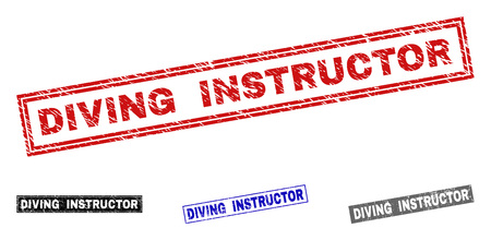 Grunge DIVING INSTRUCTOR rectangle stamp seals isolated on a white background. Rectangular seals with distress texture in red, blue, black and gray colors. Illustration