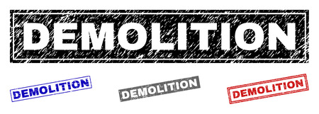 Grunge DEMOLITION rectangle stamp seals isolated on a white background. Rectangular seals with grunge texture in red, blue, black and gray colors. Vektorgrafik
