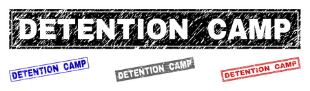 Grunge DETENTION CAMP rectangle stamp seals isolated on a white background. Rectangular seals with distress texture in red, blue, black and grey colors. Illustration