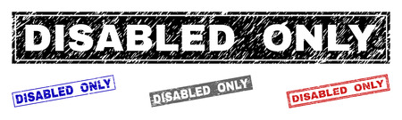Grunge DISABLED ONLY rectangle stamp seals isolated on a white background. Rectangular seals with grunge texture in red, blue, black and gray colors.